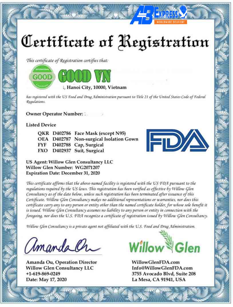 Các mẫu giấy chứng nhận FDA mới nhất?